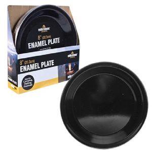 OUTILLAGE DE CAMPING Assiette de camping en émail noir 24 cm Repas en p