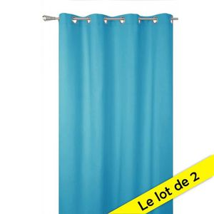 RIDEAU Lot de 2 rideaux occultants - Bleu turquoise - 140