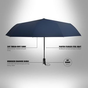 PARAPLUIE Parapluie pliant bleu marine de voyage automatique