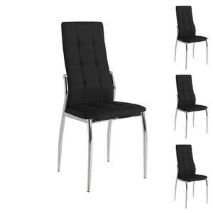 CHAISE Quatuor de chaises Eco-cuir Noir - CALAS