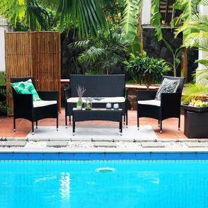 Ensemble table et chaise de jardin Salon de jardin en résine tressée 4 personnes MAMB