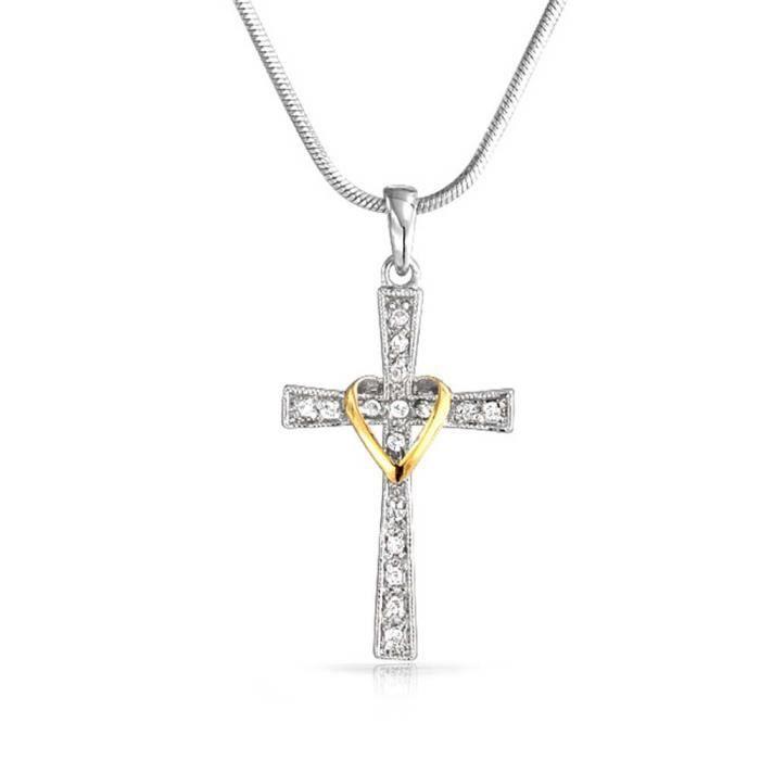 Chaine De Cou Vendue Seule Pave Cz coeur Pendentif croix Rhodium collier plaqué or Femmes 16 pouces VX8QQ