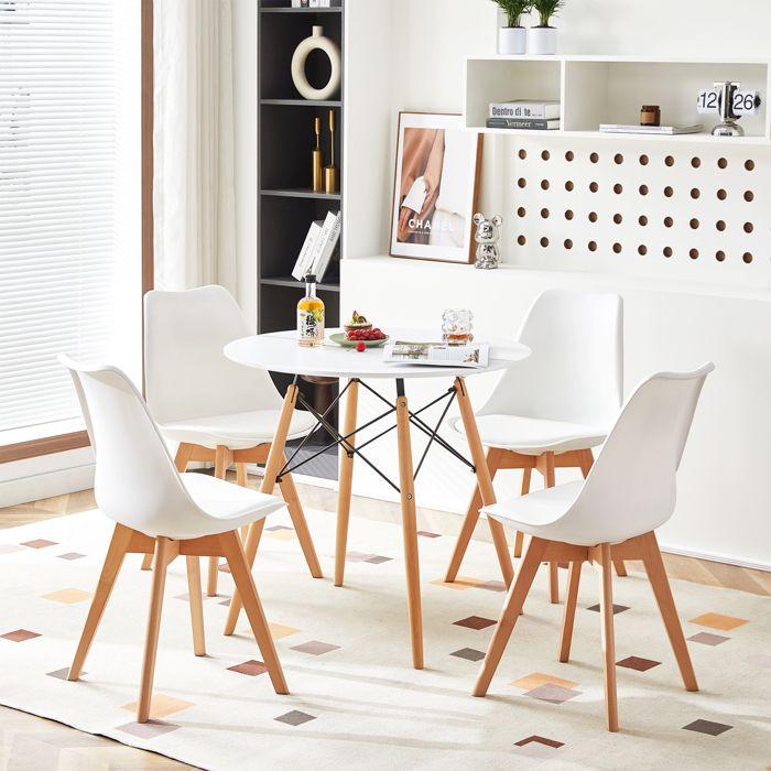 DC Table Salle à Manger Ronde Scandinave Design, Pieds en Bois et Armature en Métal, 80x80x75cm Blanc