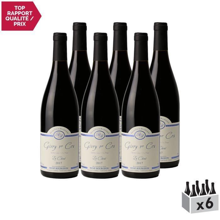Givry 1er Cru En Choué Rouge 2017 - Lot de 6x75cl - Domaine René Bourgeon - Vin AOC Rouge de Bourgogne - Cépage Pinot Noir.