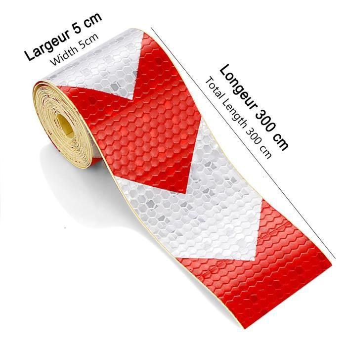 5cm x 300 Cm Blanc Rouge Flèche Bande Réfléchissante Haut Visibilité Autocollant Sécurité Avertissement