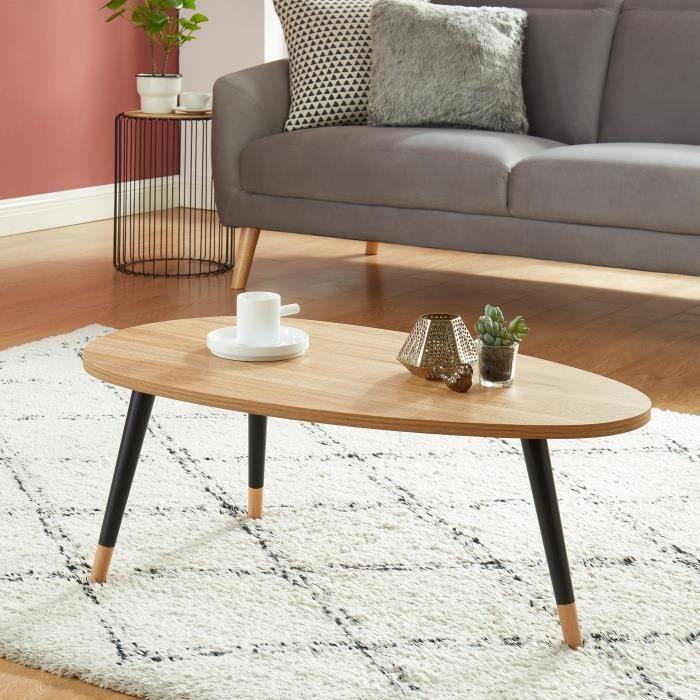 ORGANIC Table basse ovale - coloris bois et noir - L88cm