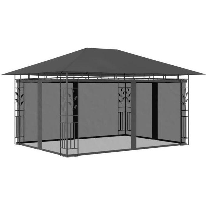 Belvédère Pavillon Pergola- Auvent Extérieur de Style Moderne avec moustiquaire 4x3x2,73 m Anthracite 180 g-m²