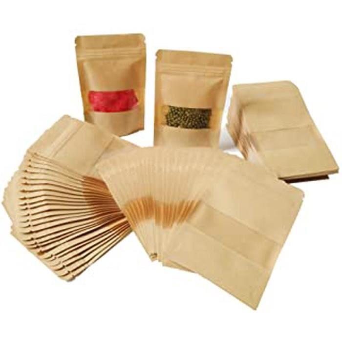100Pcs 9 * 14Cm Pochette Sac Sachets Zip En Papier Kraft À Fenêtre Mini Paquet Biodégradable Enveloppe Pour Semences Bonbons Graines