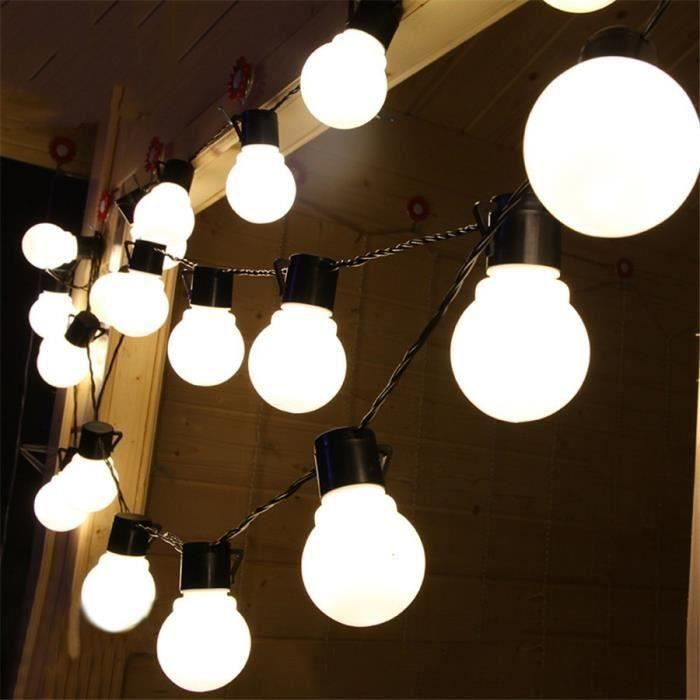 Guirlande Lumineuse Exterieur avec 20 5CM Grosse Boule Ampoule Blanc Chaud, 5 M, Décoration de Halloween, Noël, Mariage