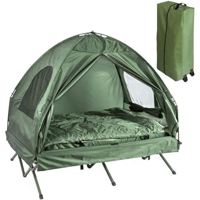 SoBuy&reg OGS32-L-GR 4-in-1! 2 Places Lit Pliant Lit de Camp Pliable Voyage Camping avec Toit, Sac de Couchage, Matelas Gonflable,