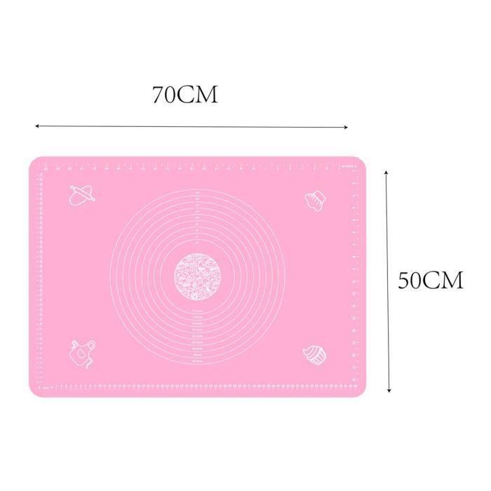 Tapis de cuisson,Feuille de tapis de cuisson en Silicone multi taille Extra Large pour rouler la pâte - Type 70-50cm Pink