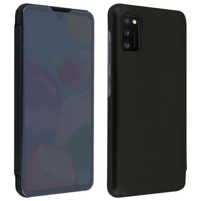 Housse Galaxy A41 Étui Clapet translucide Design Miroir Support Vidéo noir Noir