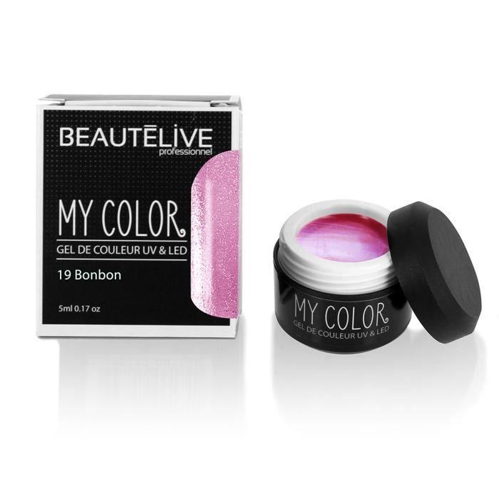 Beautélive Gel de couleur ongles UV et LED 19 - Bonbon , Pot 5ml