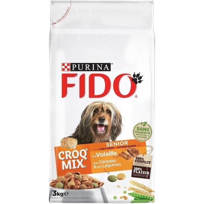 FIDO Croquettes aux viandes, céréales et légumes - Pour chien sénior - 3 x 3 kg