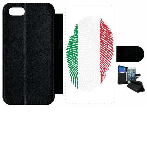 Etui a rabat - Plastique - Noir Apple iPhone 7 58 EMPREINTE DIGITALE DRAPEAU ITALIE ITALY