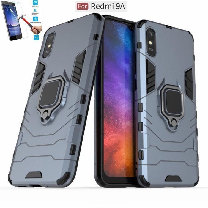 Coque Xiaomi Redmi 9A Anti Choc Gris + Film Verre Trempé Housse Etui Antichoc Armor Avec Support Magnétique hfs-house®