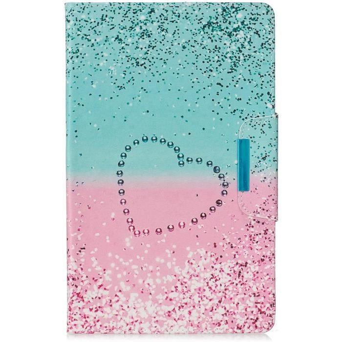 Etui Coque Galaxy Tab S5e Peint Coloré Housse en Cuir PU Etui Portefeuille Pocket et Fonction Auto Sommeil-Réveil Wallet FliB7054