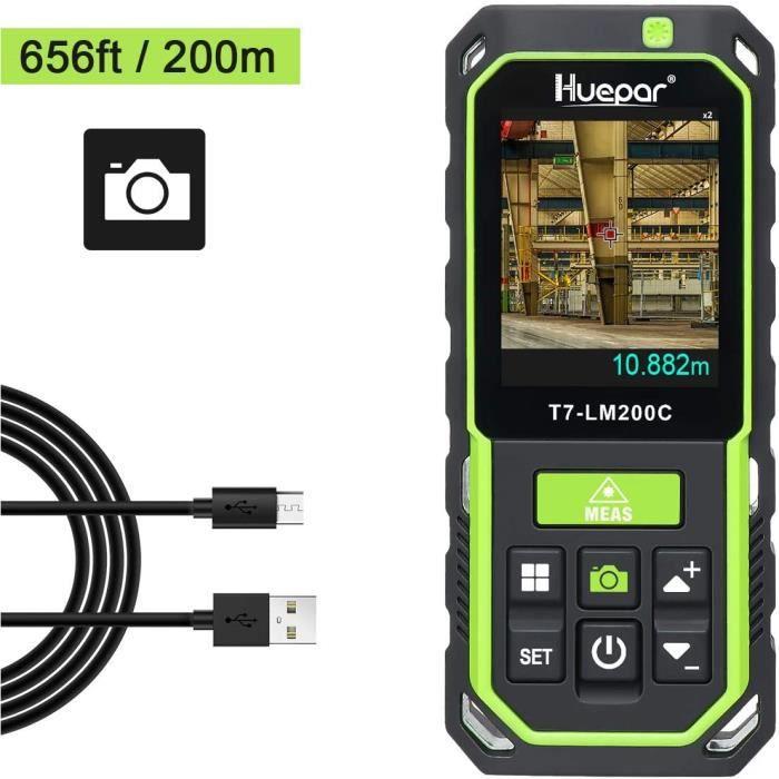 Huepar Télémètre Laser avec Caméra Zoom 2X/4X Mesureur Laser Rechargeable Haute Précision 200M M/In/Ft Divers Modes Mesure-LM200C