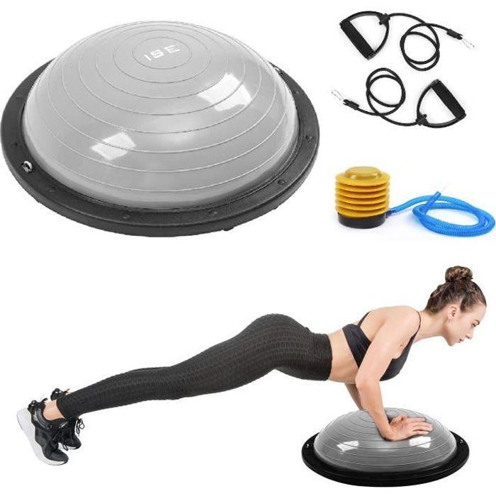 ISE Balance trainer, Demi-Ballon d'Entraînement Ø 59cm,avec Câbles de Resistance et Pompe,pour Yoga, Gymnastique,Gris SY-BAS1001B-CG