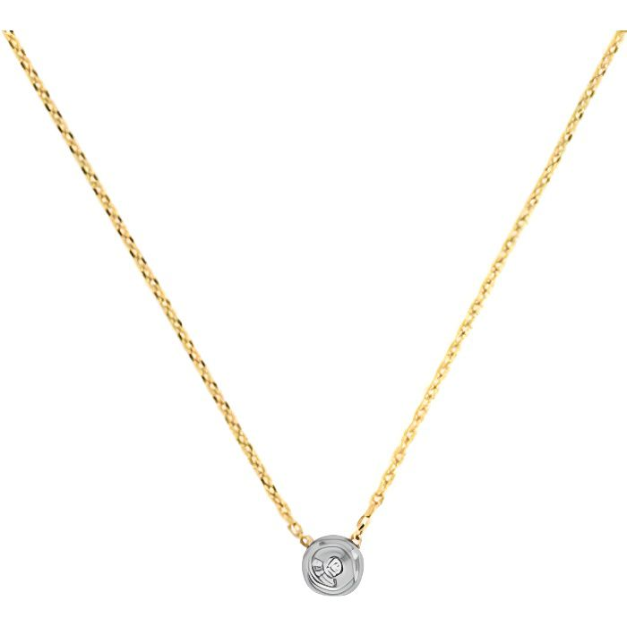 Collier Diamant Or Bicolore Solitaire - Femme