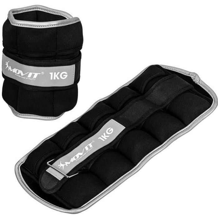 Movit® Bandes lestées pour poignets et chevilles 2x1kg, noir, poids néoprène avec matériau réfléchissant