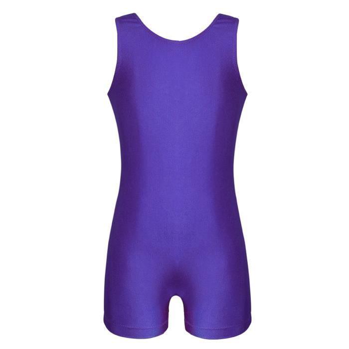 Justaucorps Gymnastique Fille sans Manche Leotard Sport Yoga Fitness Bodysuit 4-12 Ans Violet