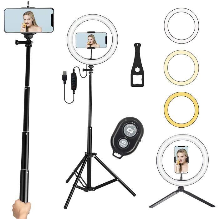 Lampe Annulaire LED 26 cm avec Trépied De Bureau, Télécommande Bluetooth, Support Réglable, Pour Selfie Stick - Pour TikTok, YouTube
