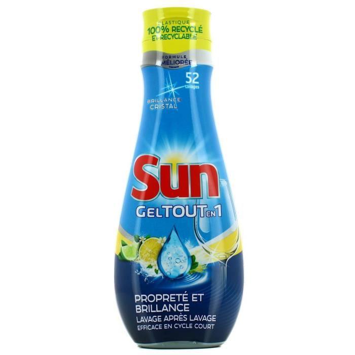 Sun gel lave-vaisselle tout en 1 citron 900ml 45 doses - Lot de 2