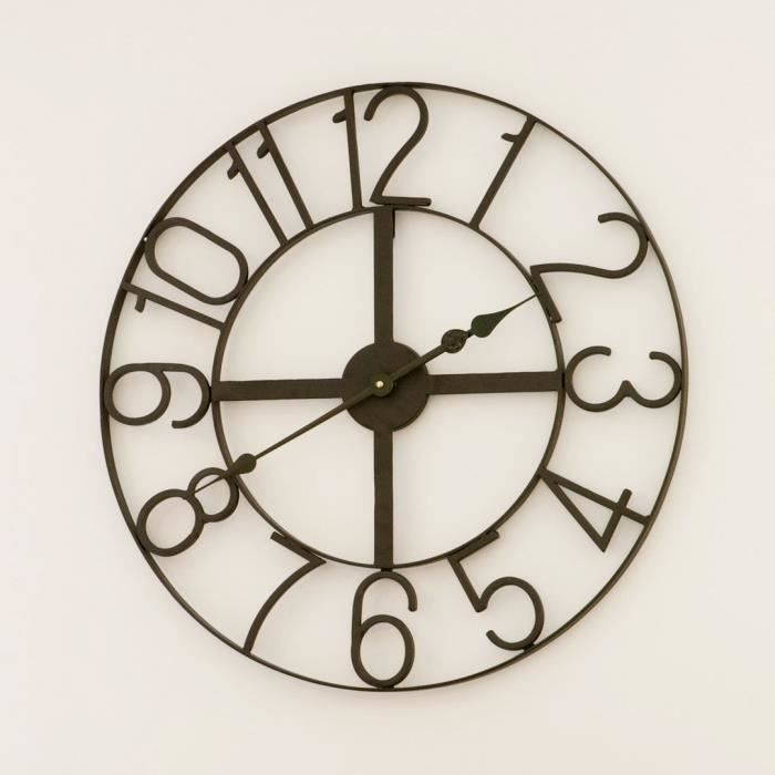 horloge murale metal 60 cm achat vente horloge murale. Black Bedroom Furniture Sets. Home Design Ideas