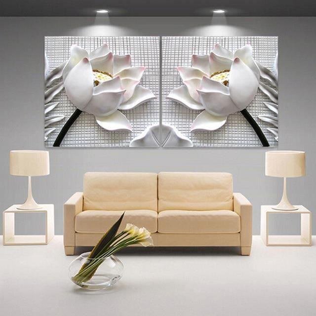 Moderne 3d Blanc Lotus Définition Images Canvas Maison