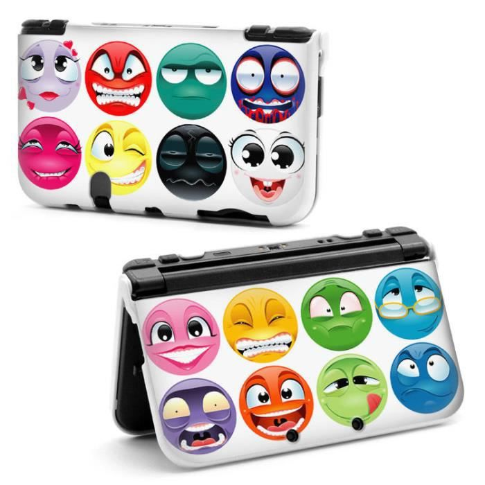 coque new 3ds xl emoticone smile fun bd comics humour rose. Black Bedroom Furniture Sets. Home Design Ideas