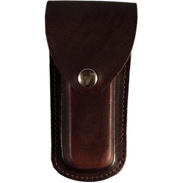 Couteau de chasse avec étui à rabat en cuir avec boucle pour ceinture