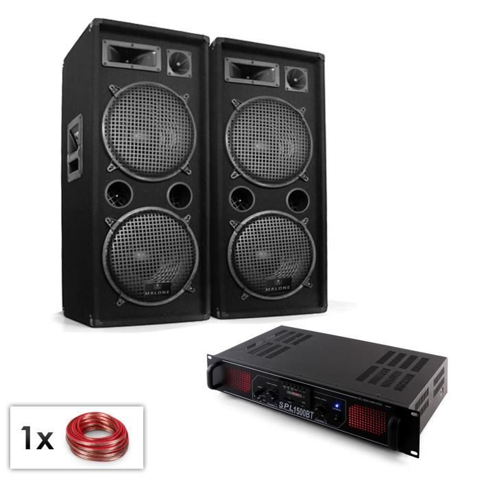 "PACK SONO DJ PA Set ""Malone Bluetooth MP3"" enceintes 2x12"" a"