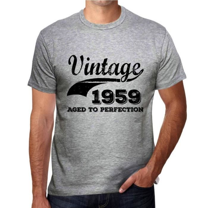 T-SHIRT Vintage Aged to Perfection 1959, Gris Homme Tshirt