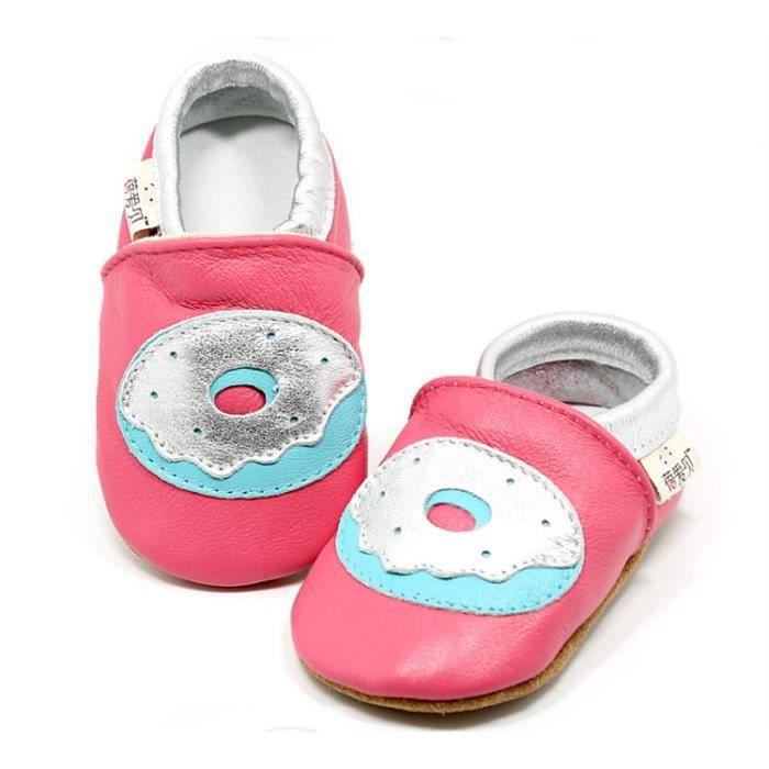 Chaussures Cuir Souple Bébé Fille Chaussures Bébé Garçon Chaussons Bébé Cuir Souple Motif Donut
