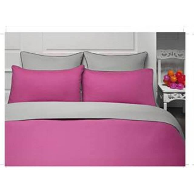 housse de couette fushia et gris valdiz. Black Bedroom Furniture Sets. Home Design Ideas