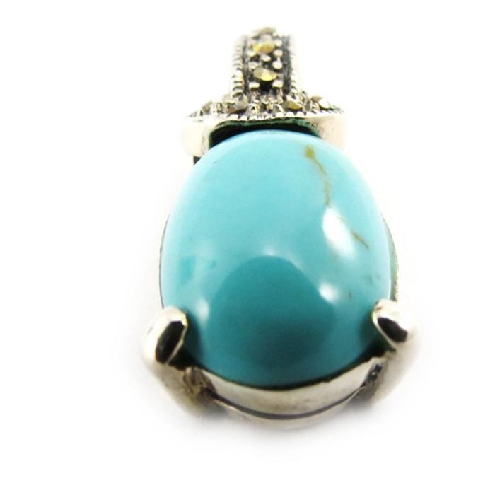 Pendentif Argent Sappho turquoise