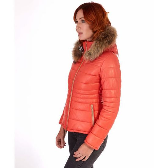 LADIES • couleur orange • Doudoune femme avec capuche bordé fourrure