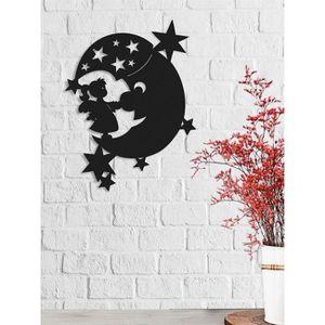 OBJET DÉCORATION MURALE Décoration Metallique Lune, Couleur: Noir