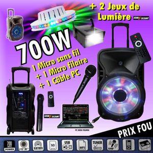 PACK SONO FITNESS ENCEINTE AMPLIFIÉE 700W PORTABLE + USB MP3