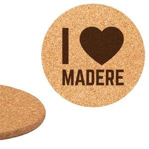 DESSOUS DE PLAT  Dessous de plat en liège 18cm gravé I love Madère