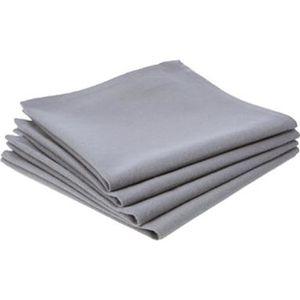 SERVIETTE DE TABLE Lot de 12 serviettes de table coloris Gris- Dim :