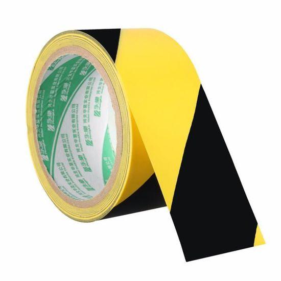 2 x Jaune//Noir barrière ruban non adhésif auto éloignement Avertissement 48 mm x 50 m