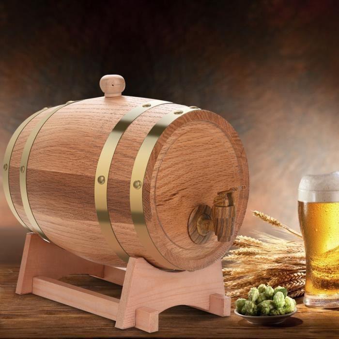VGEBY 3L Baril de Vin Chêne Bois Tonneau de Vin Avec Distributeur Pour Vin Rouge Rhum Bière 22,5 x 23,5 x 30,5 cm -CYA