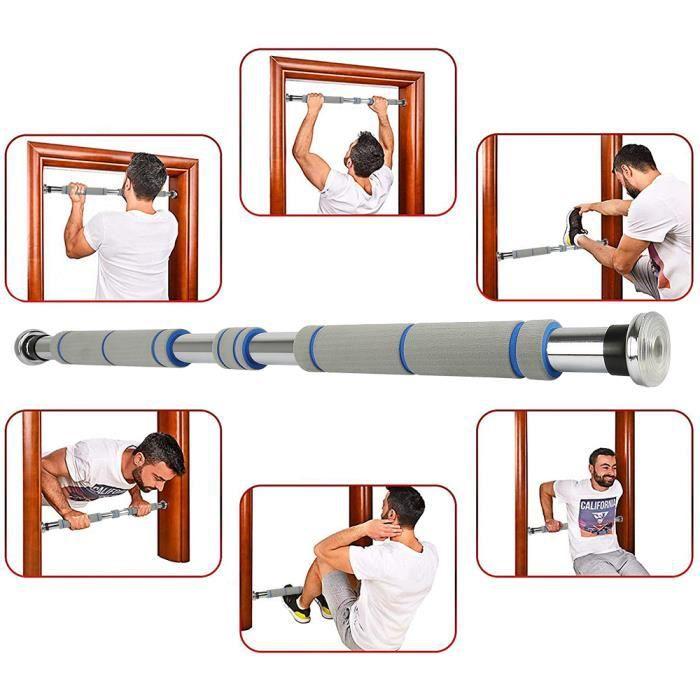 Barre Horizontale de Porte de Gym pour une largeur de porte de 80 à 130 cm GRIS Barre de Traction