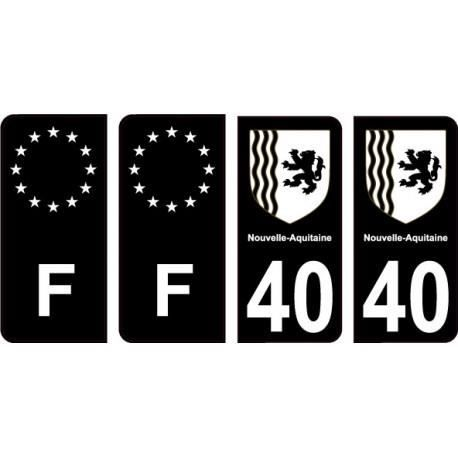 40 Landes noir autocollant plaque immatriculation auto sticker Lot de 4 Stickers - Angles : arrondis