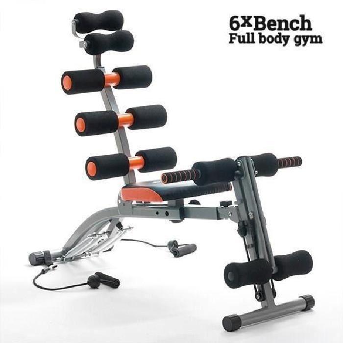 Banc musculation abdo sport abdominaux + tendeurs pour bras réglable