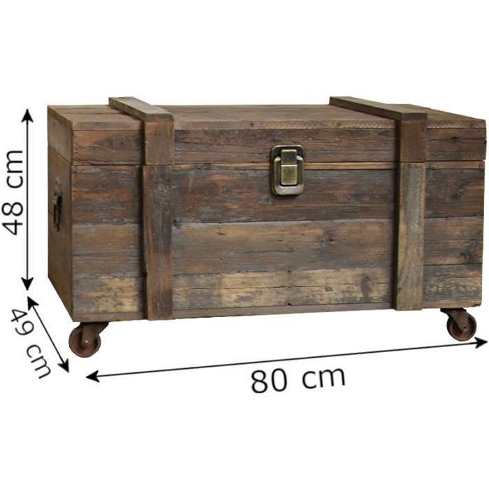 Grand Style ancien Coffre à Roulettes Rangement Bouteilles 80 cm x 49 cm x 48 cm 3000-Malle-
