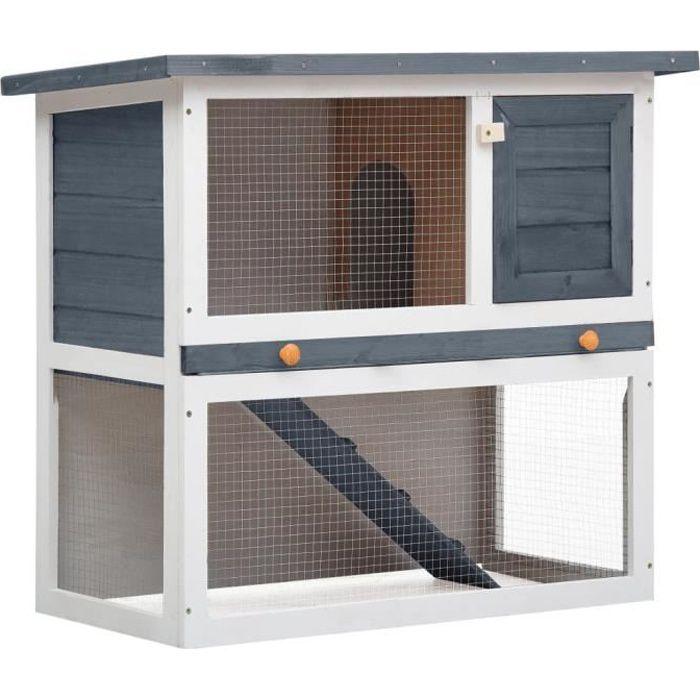 Clapier d'extérieur Enclos poulailler - Parc Cage lapin Extérieur - Enclos pour petits animaux - 1 porte Gris Bois♫2035