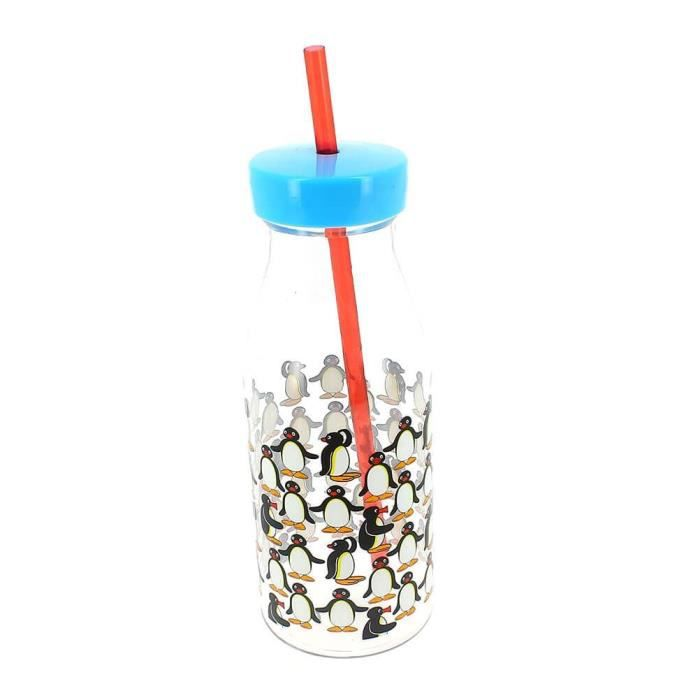 Bouteille transparente Pingu avec paille rouge
